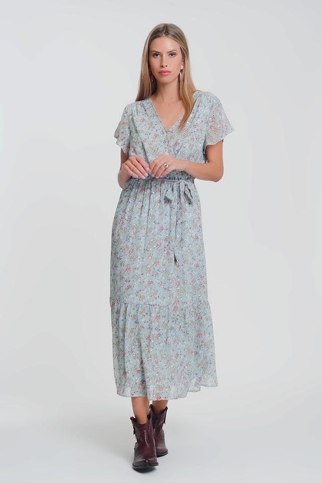 Vestido longo com mangas curtas em chiffon floral azul