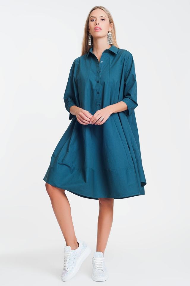 Vestido de popeline oversized de algodão verde
