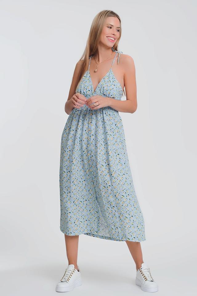 Vestido longo floral azul com costas abertas
