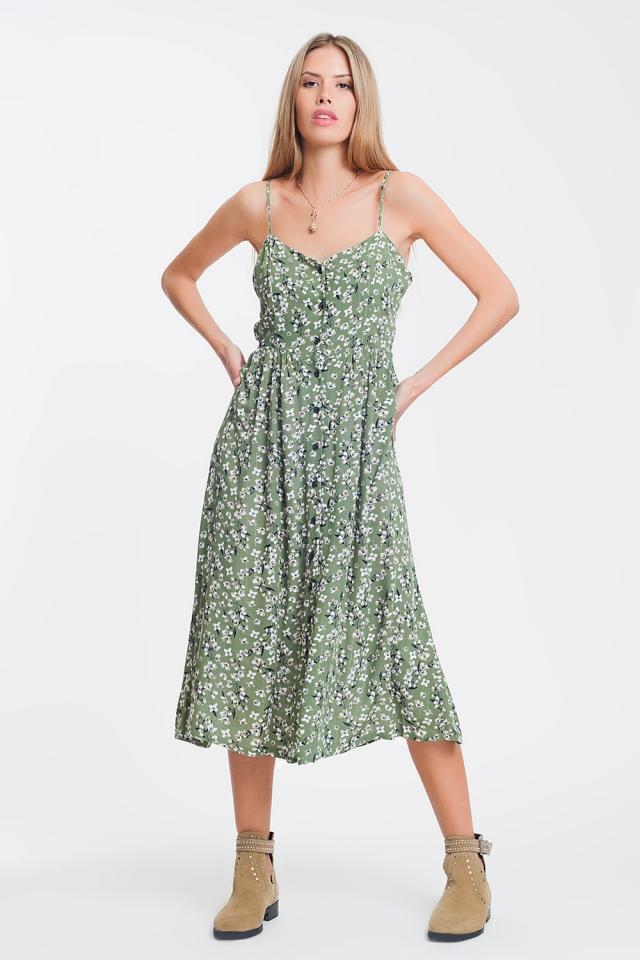 Vestido longo floral verde com abotoamento