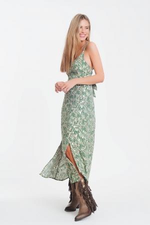 Vestido longo com tiras finas e abertura nas costas com flores