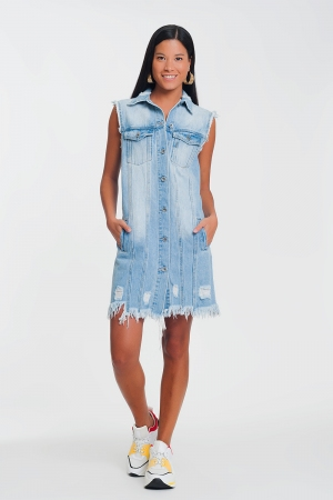 Vestido de ganga sem mangas azul claro