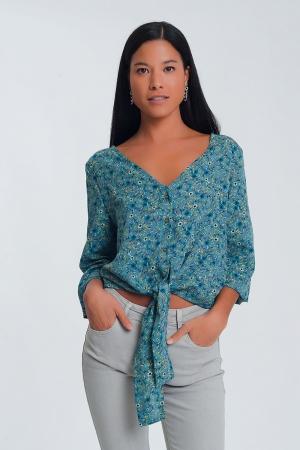 Blusa de mangas compridas com decote em V, botões e estampa floral - verde