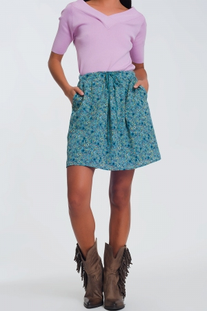 Mini-saia floral verde