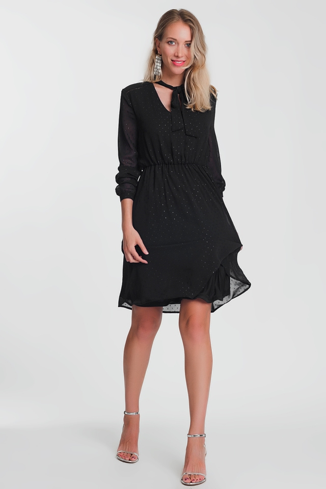 Black dress with v-neck and silver dots