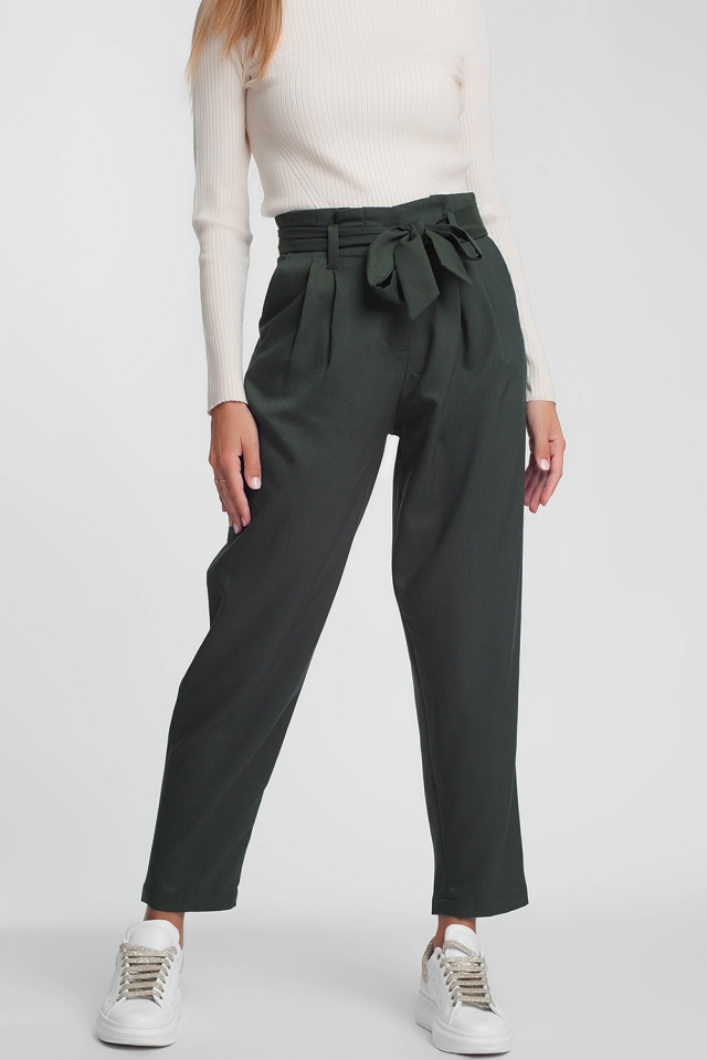 Green formal pants with a belt