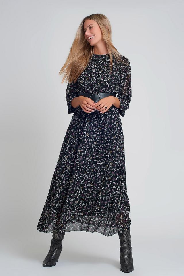Vestido comprido de chiffon com mangas bufantes e cinto em estampa floral preta