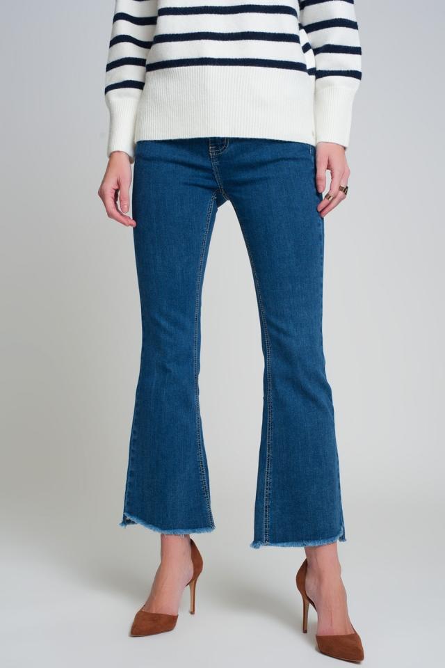 Jeans flare de cintura alta em azul escuro