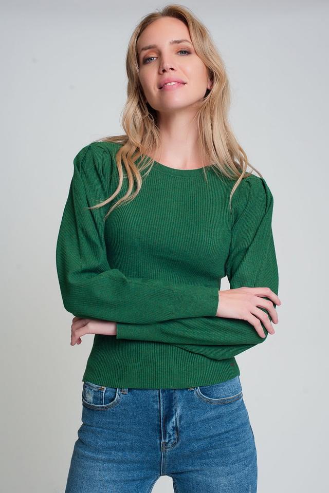 Camisola verde com gola redonda e mangas compridas