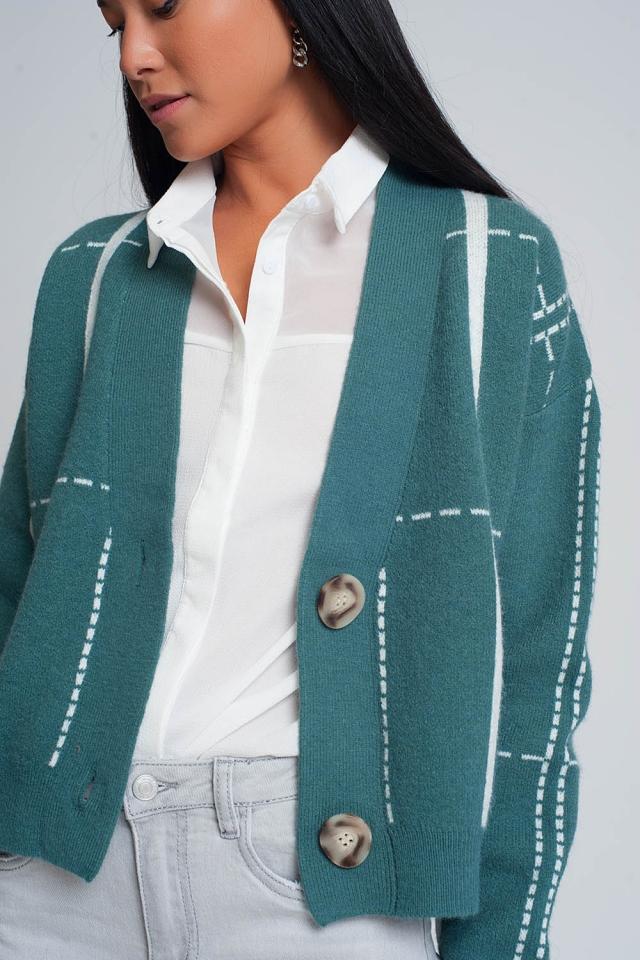 Cardigan com botões e decote em V verde