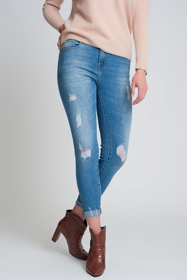 Smalle jeans met grote scheuren in dark wash blauw