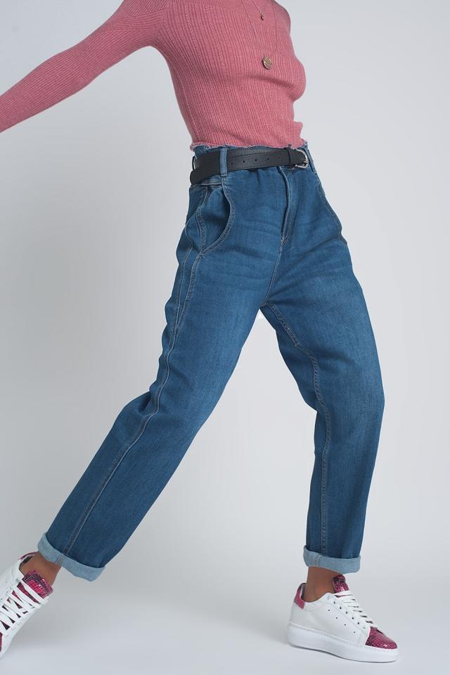 Calças de ganga azul arredondado de cintura alta