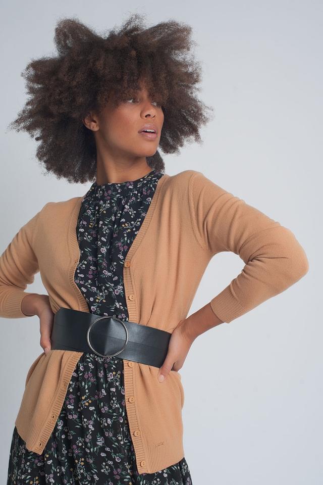 Gebreid cropped vest met knopen aan de voorkant in camelo