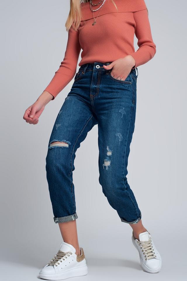 Calças de ganga mom e cintura alta com a frente partida em azul