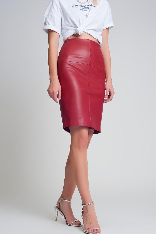 Mini saia em pele vermelha