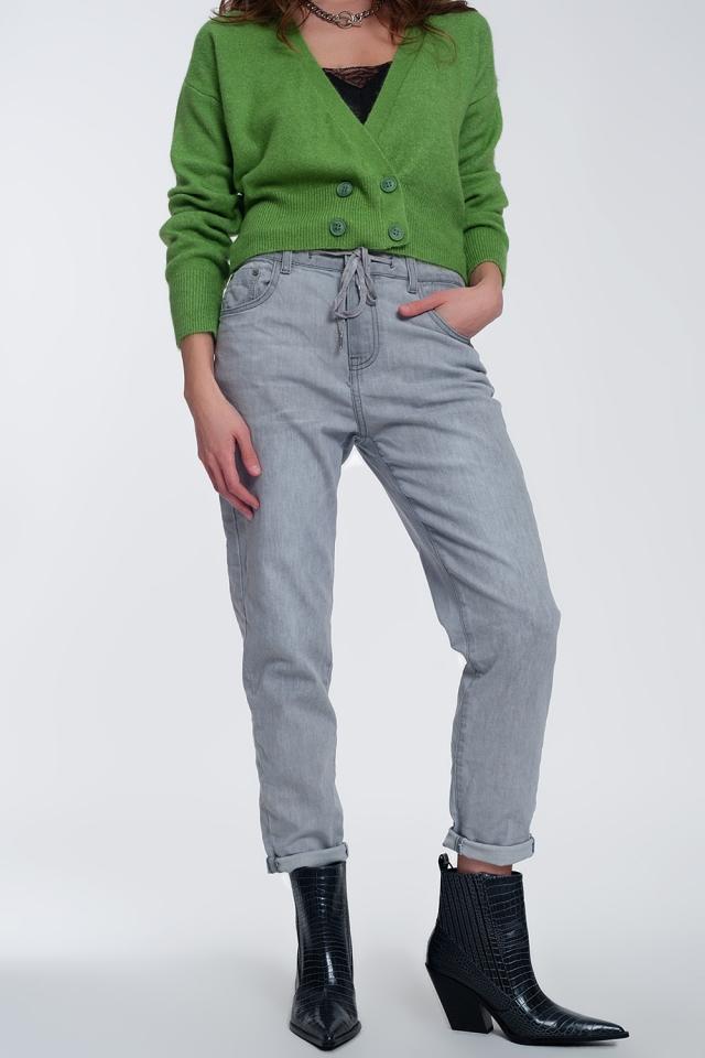 Calças de ganga jogger leves em cinzento