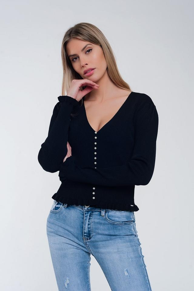 Camisola com frente de pérola em preto