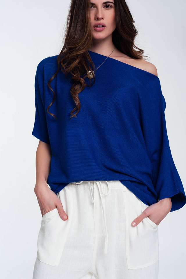 3/4 sleeve jumper in blue