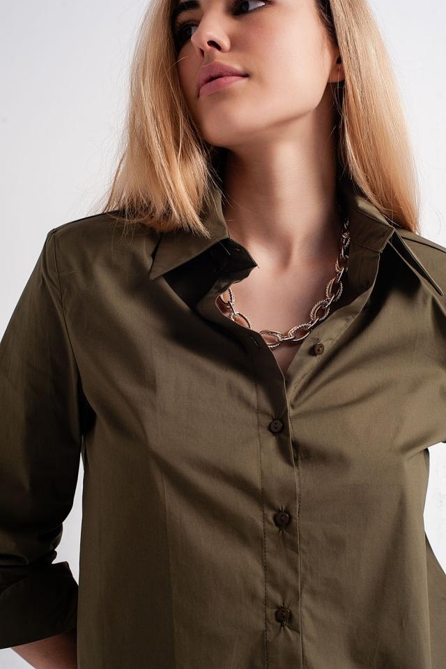 Camisa de manga comprida com ombreiras em cáqui
