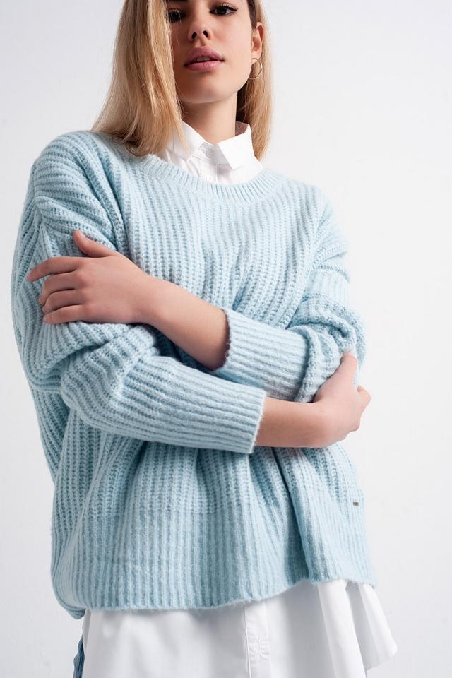 Camisola de malha turquesa com nervuras de grandes dimensões