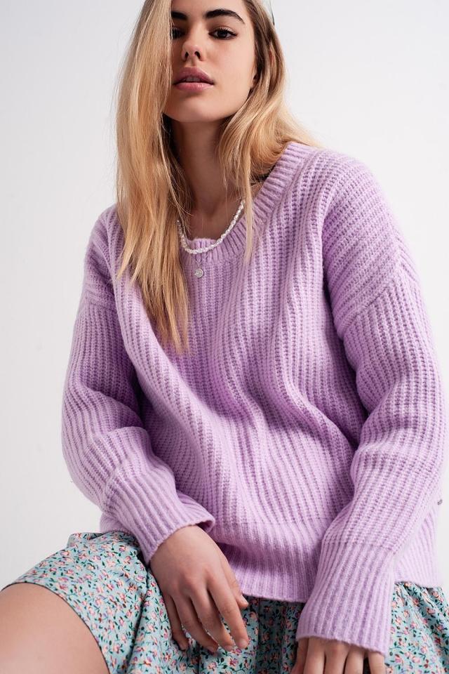 Camisola de malha lilás com nervuras de grandes dimensões
