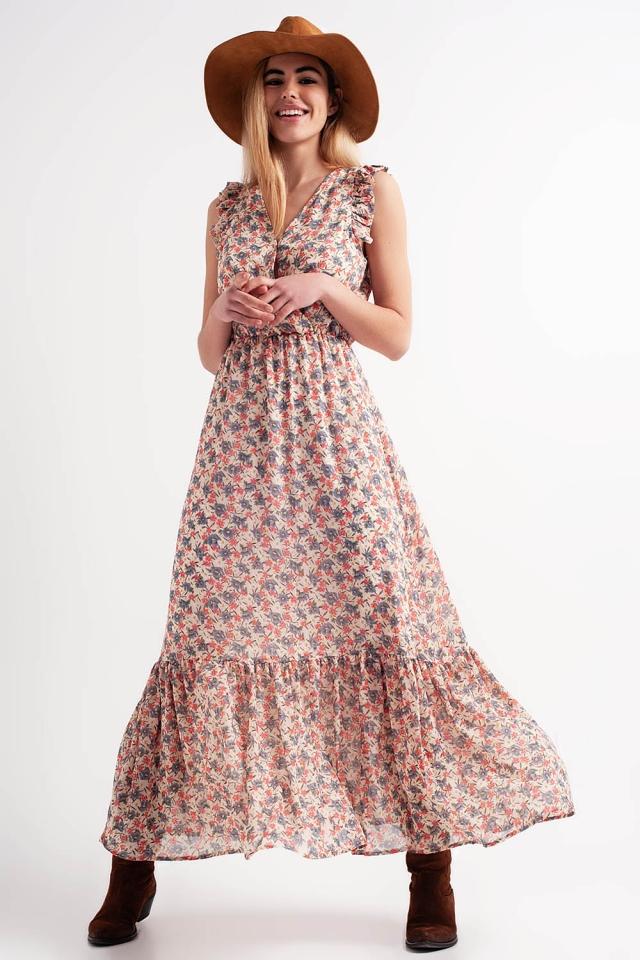 Vestido comprido com desenho em camadas e estampado floral em rosa