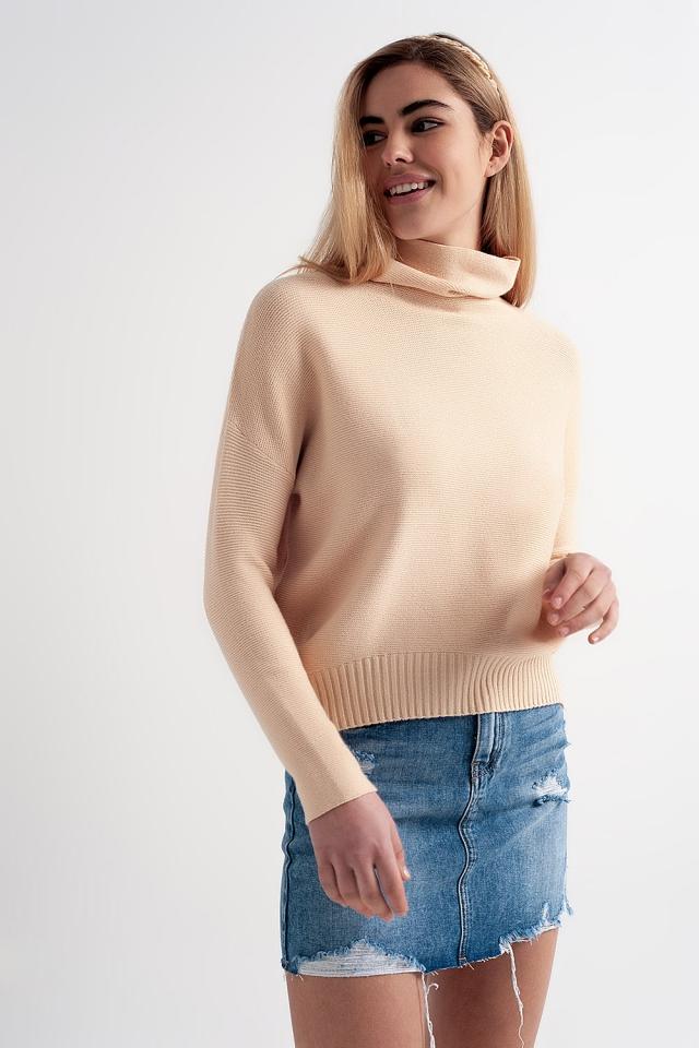 Camisola cor bege extra grande com pescoço solto