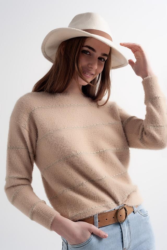 Camisola de malha com textura fofa em torção bege
