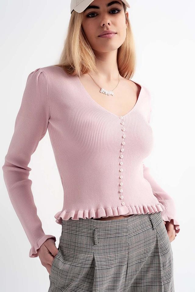 Camisola com frente de pérola em rosa