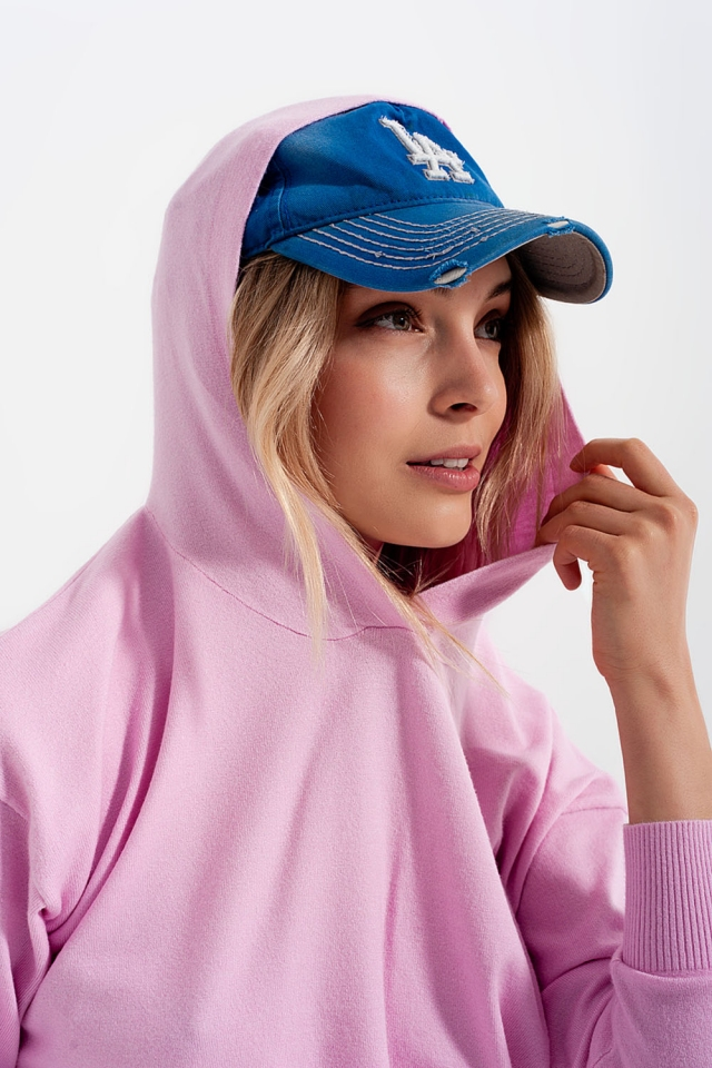 Camisola de manga longa rosa com capuz