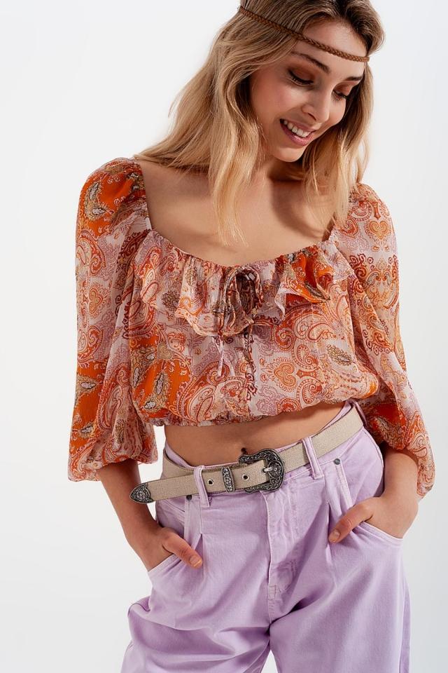 top de manga comprida com cintura shirred e detalhe de gravata em impressão de laranja