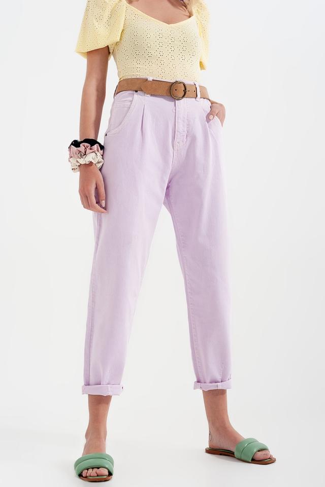 Calças de ganga de alta ascensão mamã com frente plissada em lilás