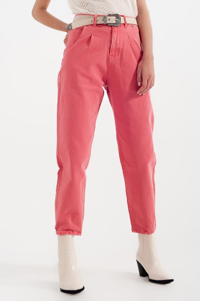 Calças de ganga de cintura alta com pregas na frente em rosa