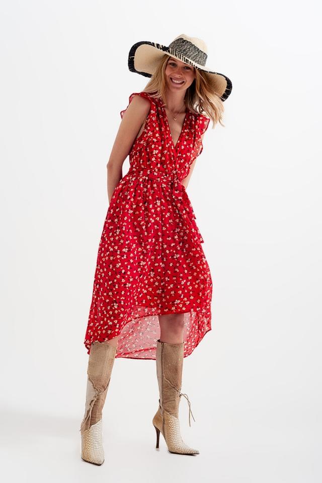 Vestido com bainha assimétrica e frente com nó com estampa floral vermelha