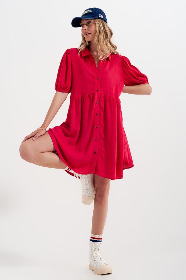 Vestido de camisa curta vermelha larga