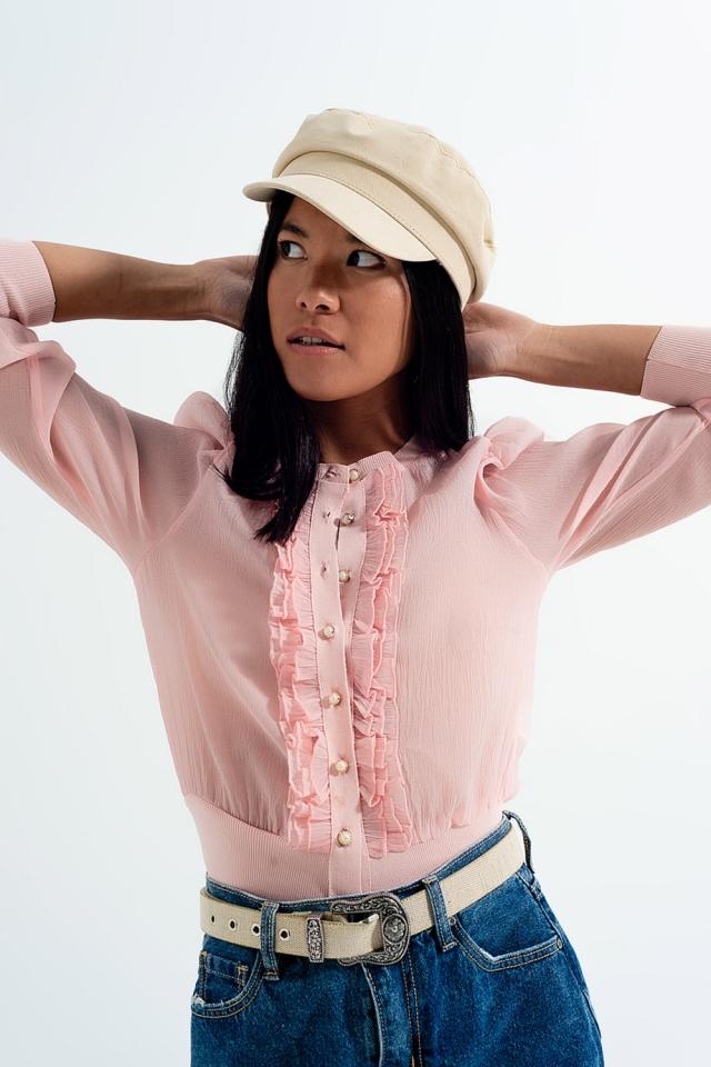 Jaqueta de chiffon com rufos na frente em rosa
