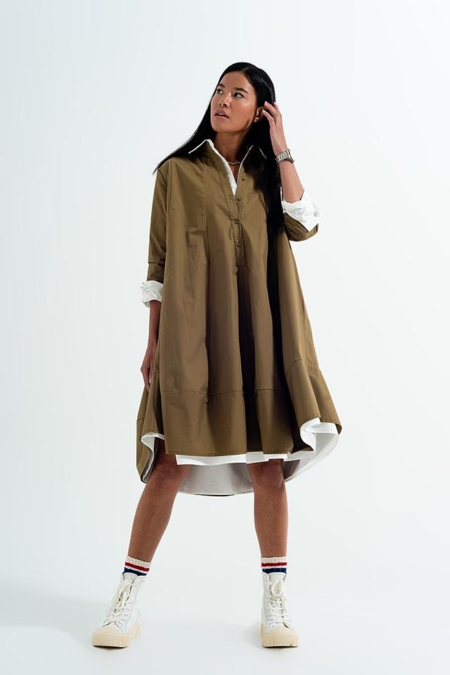 Vestido de camisa cáqui popeline com dimensões grandes