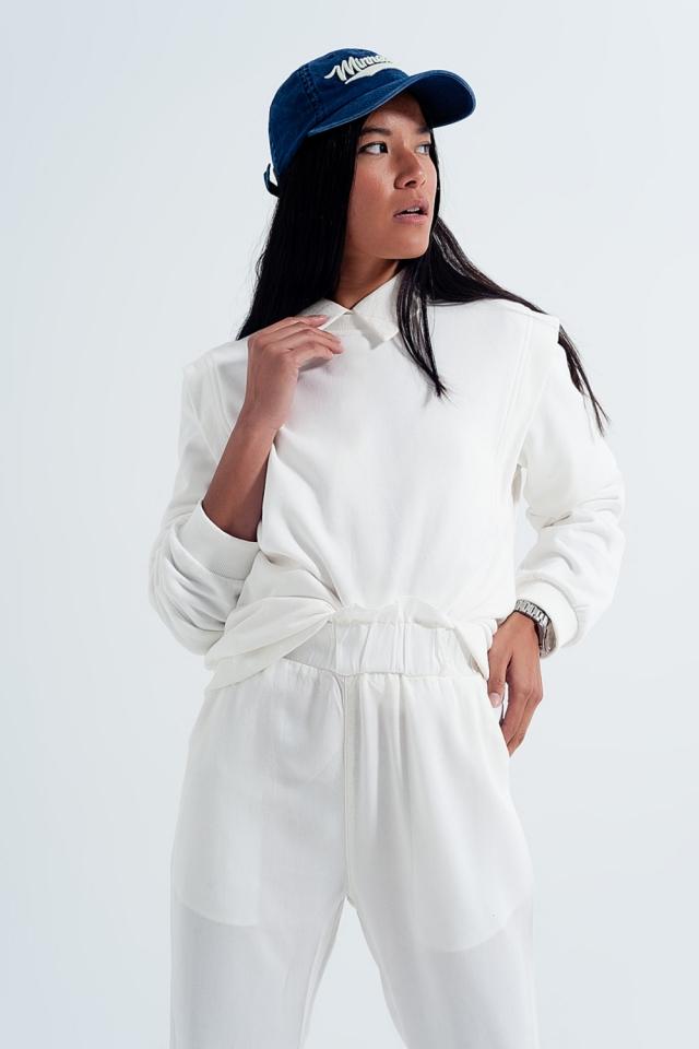 Camisola com detalhes do ombro em branco