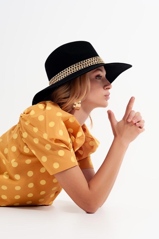 Polka dot top com mangas bufantes e decote quadrado amerelo