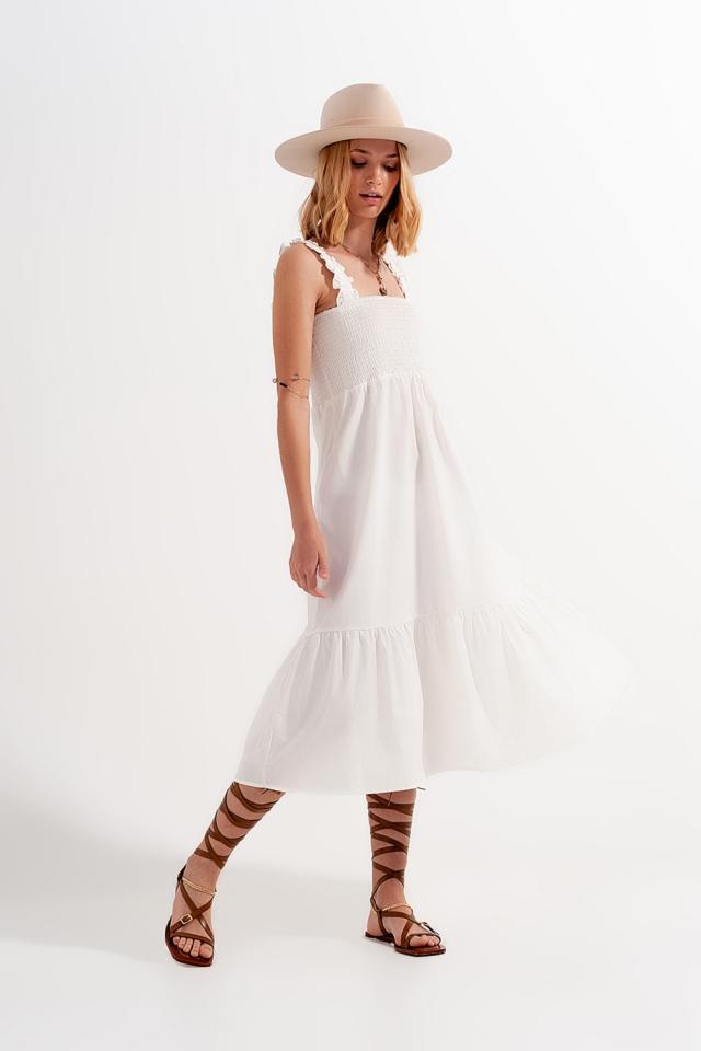 Vestido midi poplin de branco de Verão com detalhe desbotado
