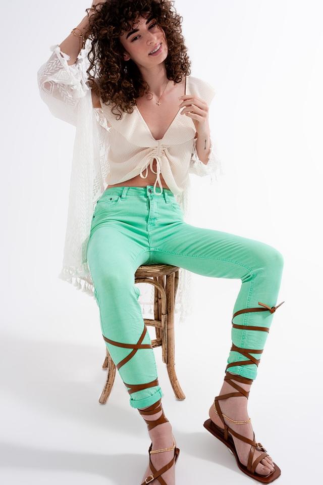 Jeans skinny de cintura alta em verde pistachio