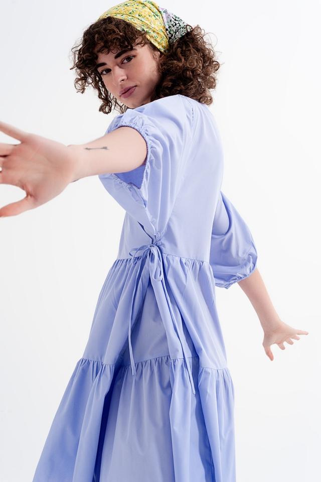 vestido midi de manga larga em lilás