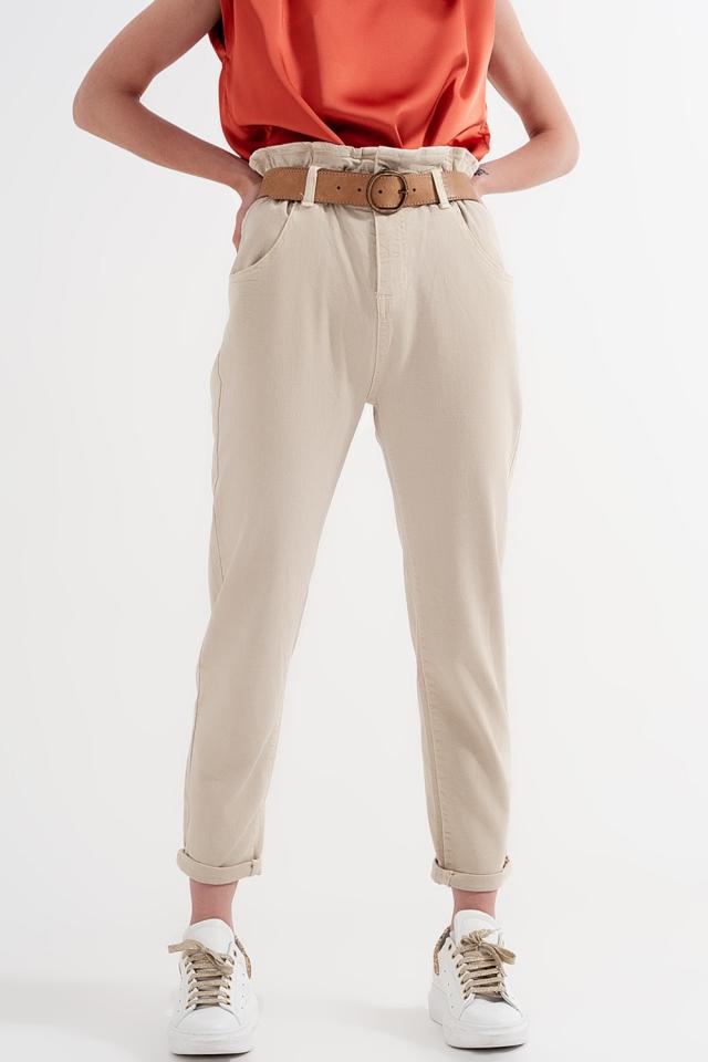 Calças de ganga Mom com cintura elástica em beige