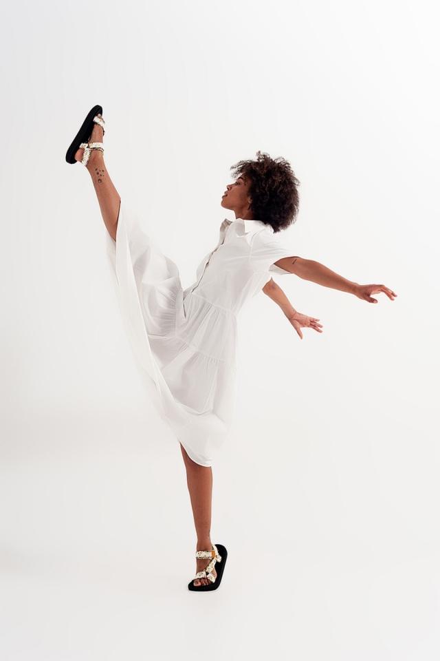 Vestido de camisa de manga curta linha branca popeline