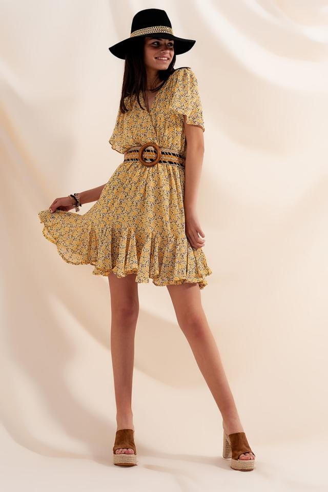 Mini robe croisée à fleurs jaunes