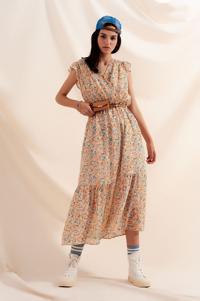 Vestido midi bege floral com detalhes de rufos de chiffon