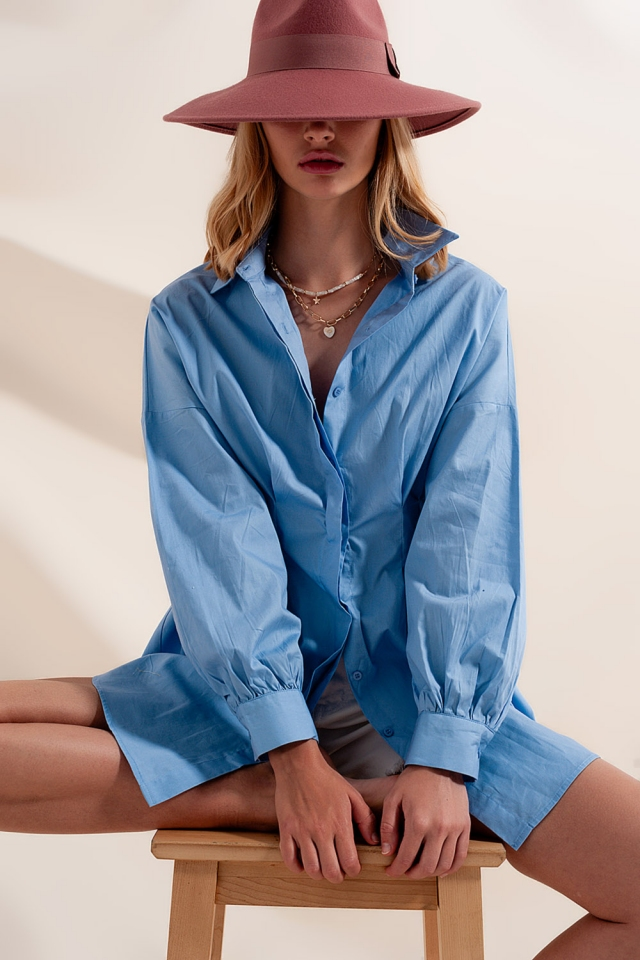 Camisa de manga comprida azul popeline