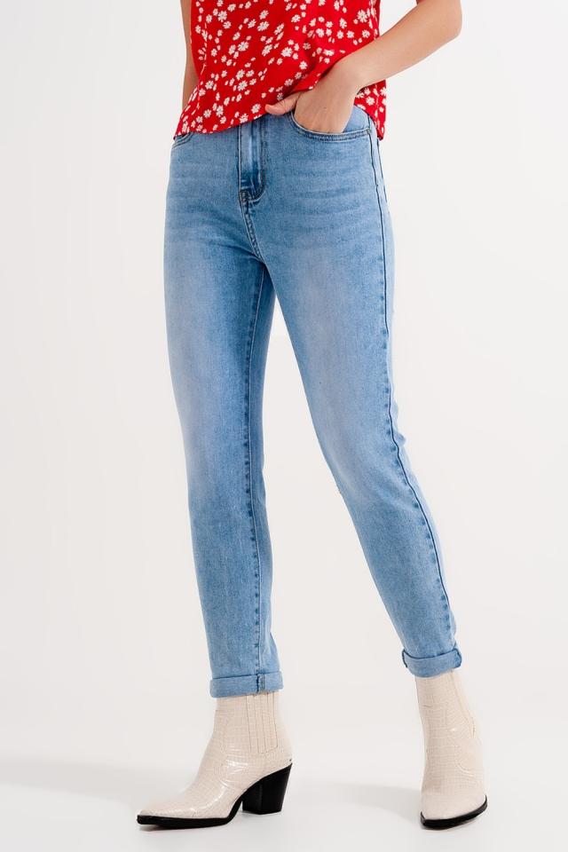 Calças de ganga magras lavadas a azul claro com cintura alta e ajuste magro