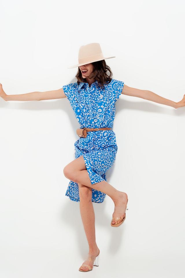 Vestido sem mangas com estampado floral em algodão em azul claro
