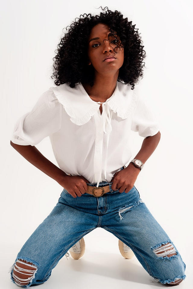 blusa de colarinho da pradaria em branco
